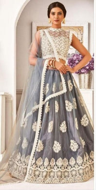 Grey Color Pretty Tishu Net With Heavy Chine Stitch Work Lehenga
