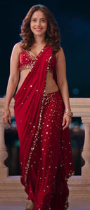 Red Color Designer Georgette Sequence Work With Lace Border Saree