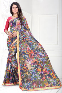 Multicolor Awesome Wetless Digital Prints Fancy Border Saree