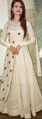 New Collection White Colour Taffeta Silk  Gown