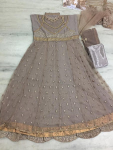 New Collection Grey Colour Net With Embroidery Jari Work N Ston Work Lehenga