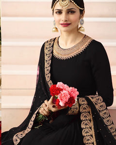 New Collection Black Colour Havey Gorget With  Squwan Work Salwar Suit
