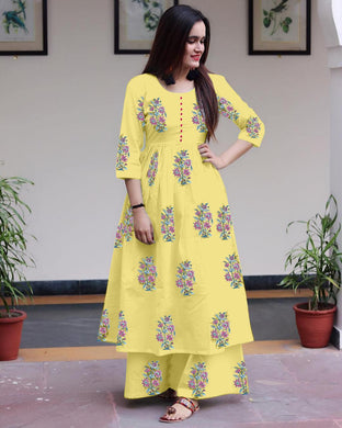 New Collection Yellow Colour Heavy Camric Cotton Printed Kurti