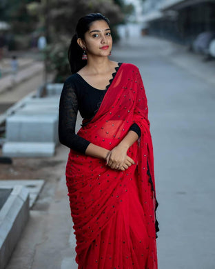 Red Lunching Party Wear Saree
