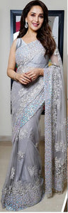 New Collection Grey Colour  Butterfly Net Saree