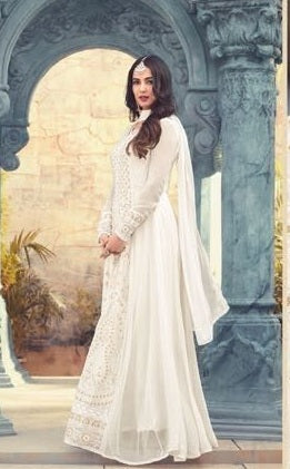 New Collection White Colour Havey Gorget With  Squwan Work  Salwar Suit