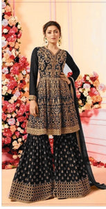 New Collection Black Colour Georgette With Full Embroidery Work  Salwar Suit
