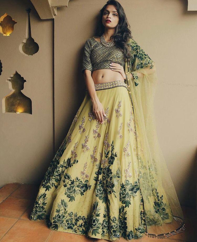 New Collection Yellow Colour Jorjet With Embroidery Sein Stich Work  Lehenga