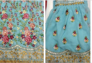 New Collection Skyblue Colour Georgette With Embroidery Work + Stone  Salwar Suit