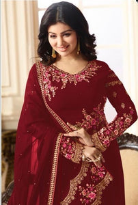 New Collection Red Colour Havey Georgette With Embroidery Work Salwar Suit