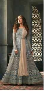 New Collection Grey Colour  Heavy Net With Embroidery Work + Stone  Salwar Suit
