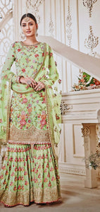 New Collection Green Colour  Georgette With Embroidery Work + Stone  Salwar Suit