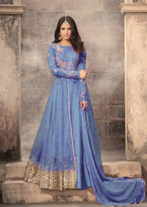 d371c7ae55 Navratri Special Skyblue Colour Heavy Net With Embroidery Work Salwar Suit  ...