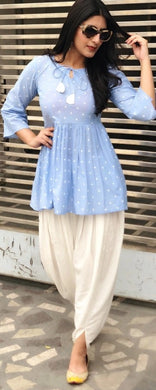 Best Quality Skyblue Colour Polka Dots Print Kurti