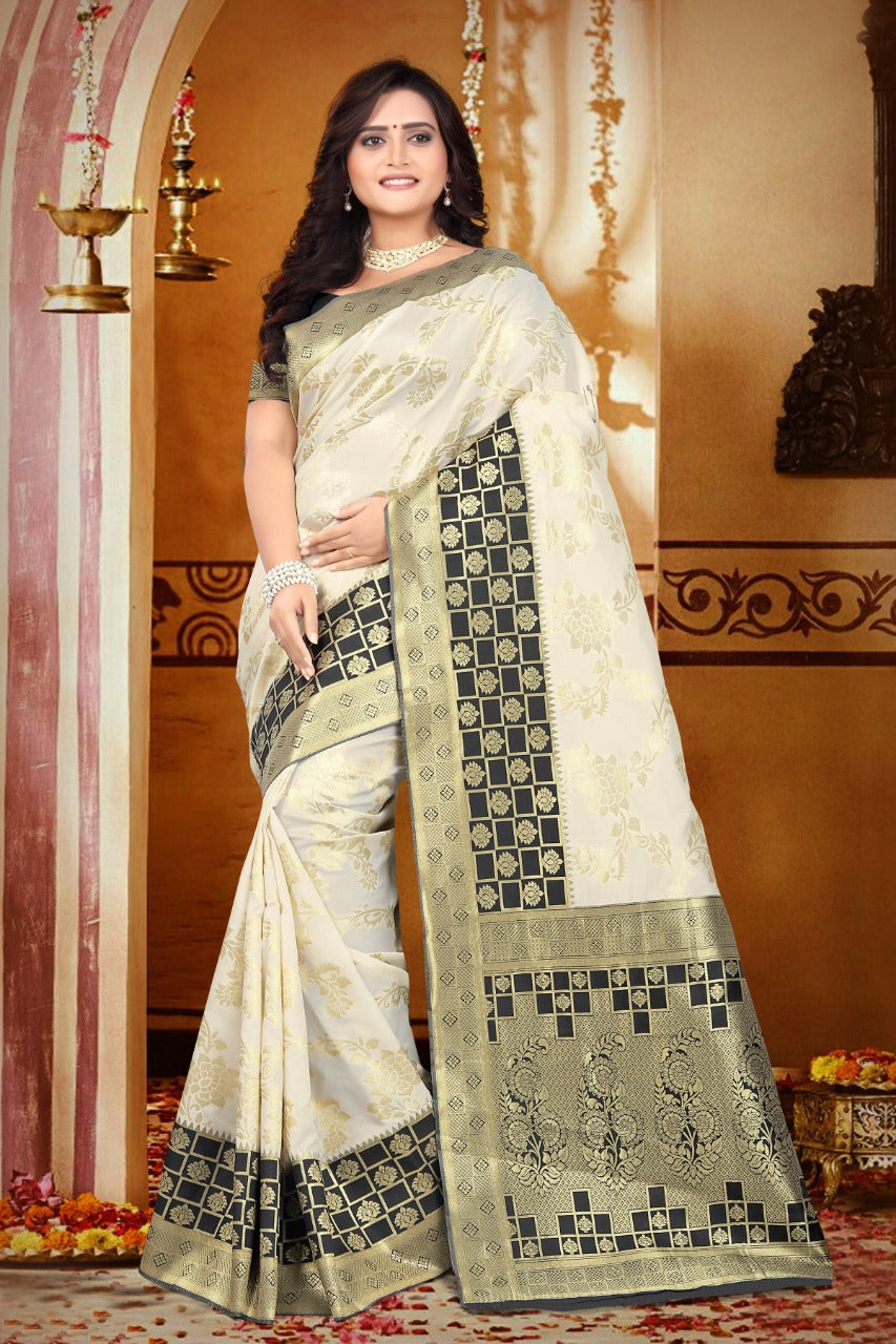 cfab12577a New Collection White Colour Banarasi Silk Saree – SAREEU™