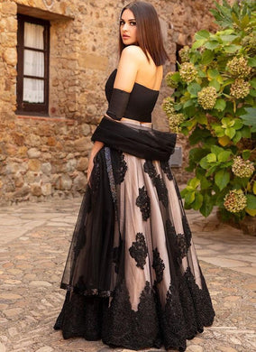New Collection Black Colour Net With Chaine Stich Work Lehenga