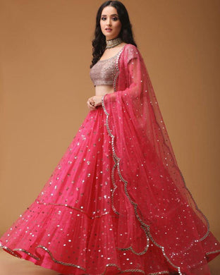 Letest Collection Pink Colour Net With Miral With Ruffle Lehenga