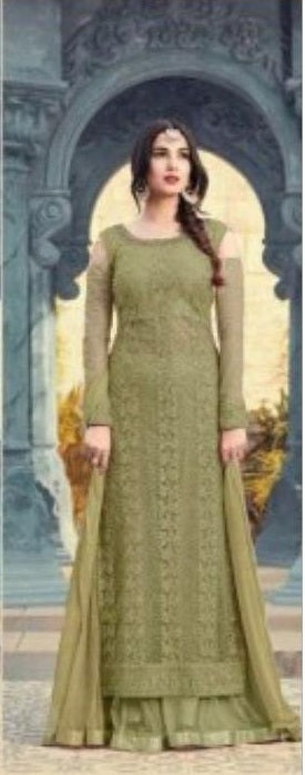 9d3094d201 New Collection Pista Colour Heavy Net With Embroidery Work Salwar Suit ...