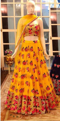 Stuning Yellow Net Embroidery Work Designer Circular Lehenga Choli
