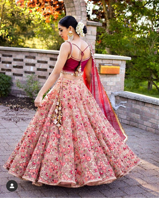 Attractive Pink Tissue Organza Heavy Embroidery Work Circular Lehenga Choli