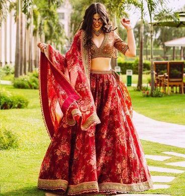 Attractive Red Tissue Organza Disigner Circular Lehenga Choli