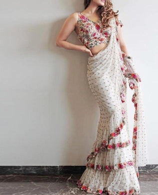 Amazing White Net Embroidery Work Freel Embellish Saree