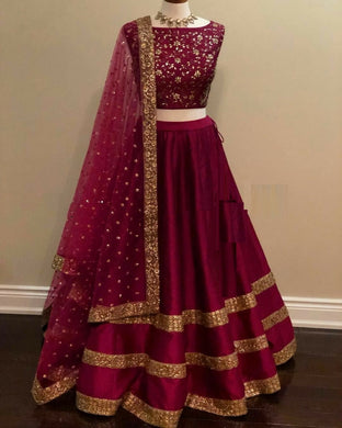 Glorious Taffeta Silk Embroidery Work Designer Circular Lehenga Choli