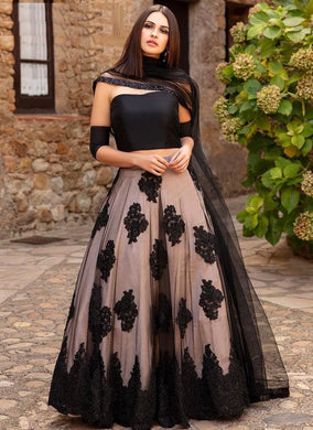 Amazing Black Net Chain Stich Work Designer Circular Lehenga Choli