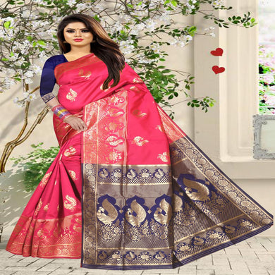 Women's Latest Design Pink And Blue Colour Art Silk Saree With Blouse Piece