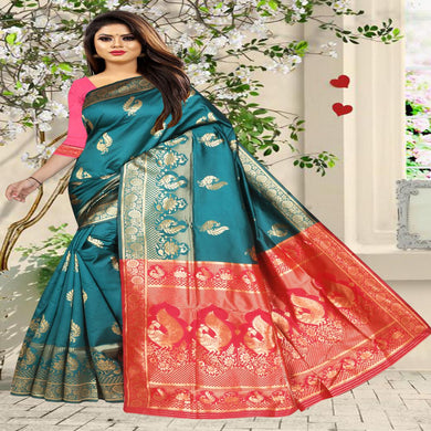 Women's Latest Design Rama And Peach Colour Art Silk Saree With Blouse Piece