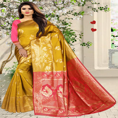 Women's Latest Design Yellow And Pink Colour Art Silk Saree With Blouse Piece