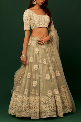 Green Color Lunching New Designer Soft Net Heavy Chine Work Lehengas With Choli