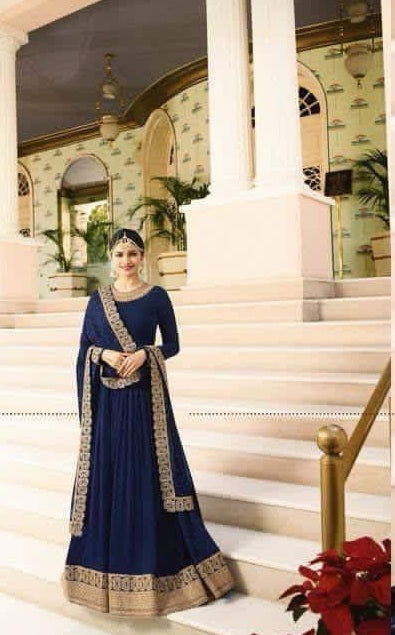 New Collection Navyblue Colour Havey Gorget With Squwan Work Salwar Suit