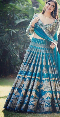 New Collection Light Sky Blue Colour Bagaloriy Satin Witha Digitel Prited Lehenga