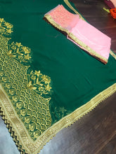 New Collection Green Colour Georgette With Emroderiy Work Saree