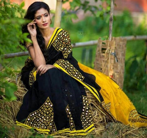 New Collection Black Colour Georgette With Emrodari Work Saree