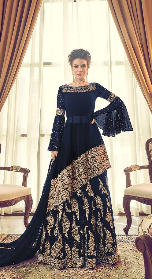 3ba07a2570 Awesome Designer Navyblue Colour Heavy Georgette With Embroidery Work  Salwar Suit ...