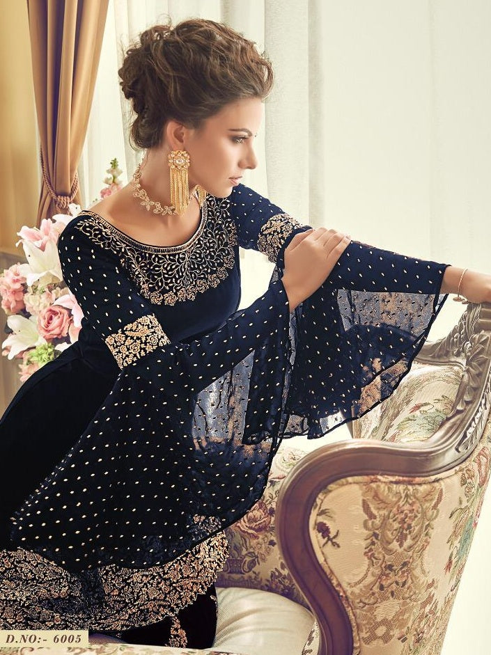 27868229d2 ... Awesome Designer Navyblue Colour Heavy Georgette With Embroidery Work  Salwar Suit