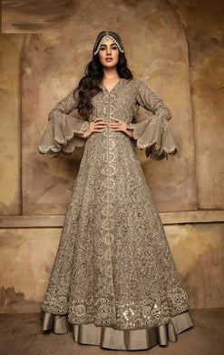 Attactive Grey Colour Heavy Net  With  Embroidery Work Salwar Suit