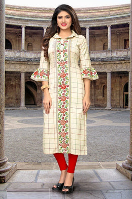 Attactive Off White Colour  Flex Cotton With Printed Work Kurti