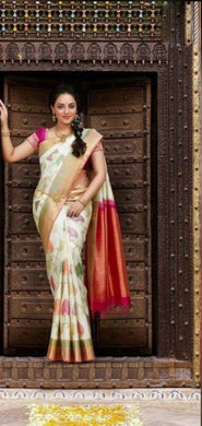 Multi Colour Saree Heavy Gotta Goldan Sillk Saree