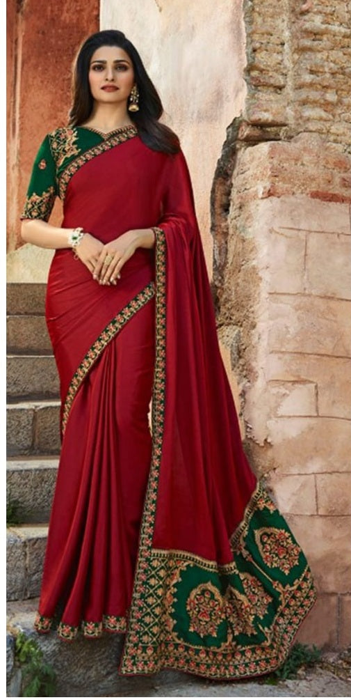 New Collection Red Colour Sana Silk And Work Saree