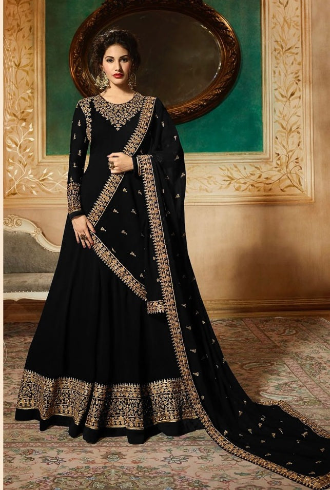 New Collection Black Colour   Heavy Gorget Embroidery Work & Stone Work Salwar Suit
