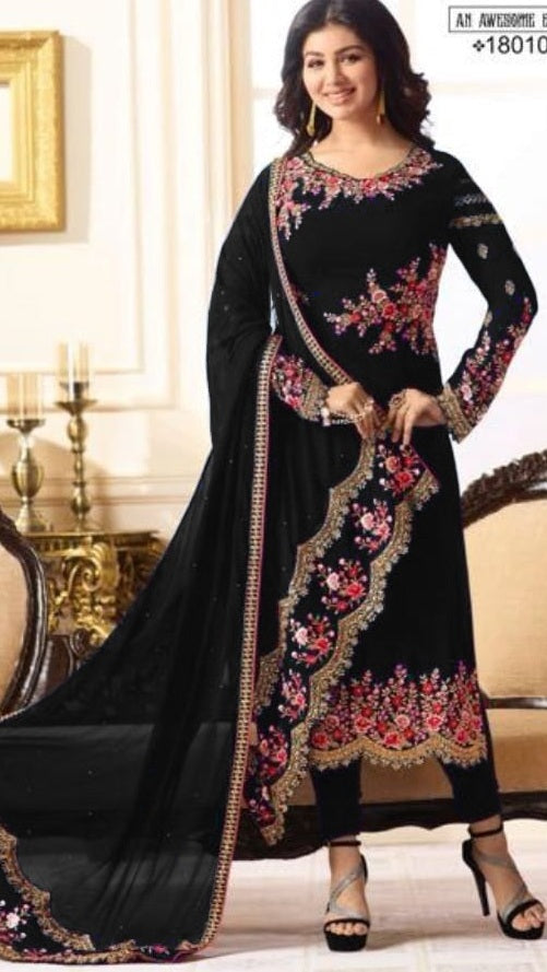 New Collection Black Colour Havey Georgette With Embroidery Work  Salwar Suit