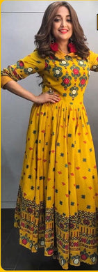 New Collection Yellow Colour  Reyon With Block Print  Gown