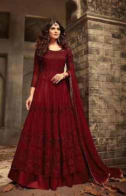 Attactive Maroon Colour Heavy Net With Embroidery Work Salwar Suit