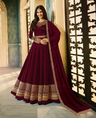 Attactive Maroon Colour Georgette Salwar Suit