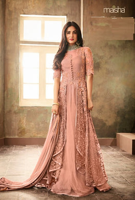 New Collection Peach Colour Heavy Net With Embroidery Work Salwar Suit