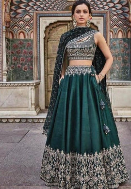 New Collection Green Colour Satin Benglori With Embroidery Work Lehenga