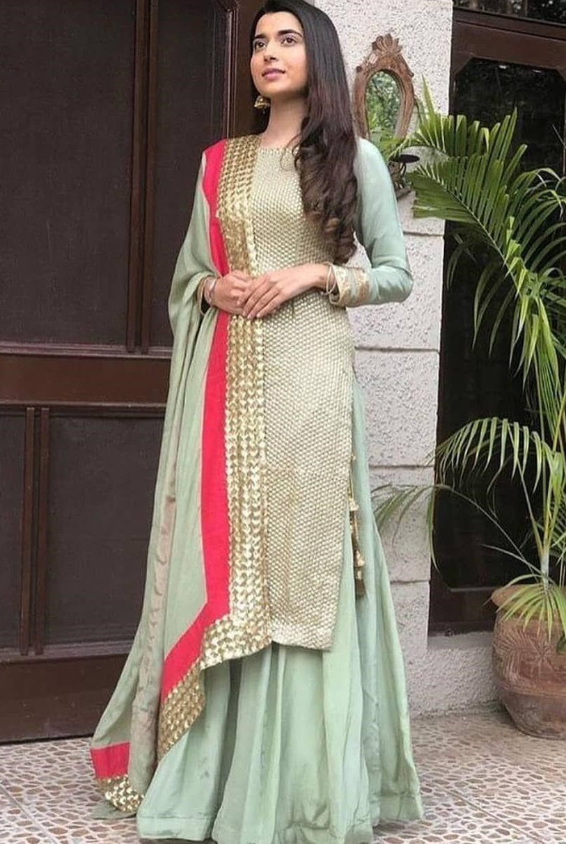 02788d6a9c Best Quality Light Sea Green Colour Georgette With Embroidery Work Salwar  Suit ...